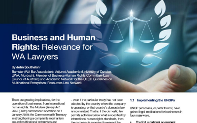 Business and Human Rights: relevance for WA lawyers
